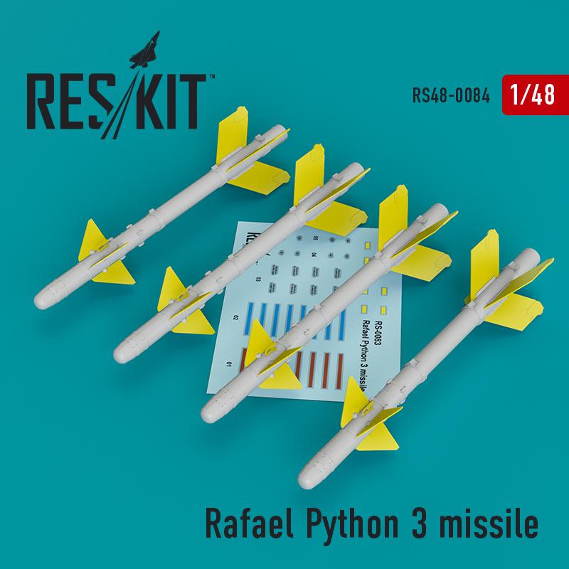 Res/Kit Rafael Python 3 missile (4 pcs) (IAI Kfir, F-15C/I, F-16I, JF-17, MiG-211, Mirage F.1)
