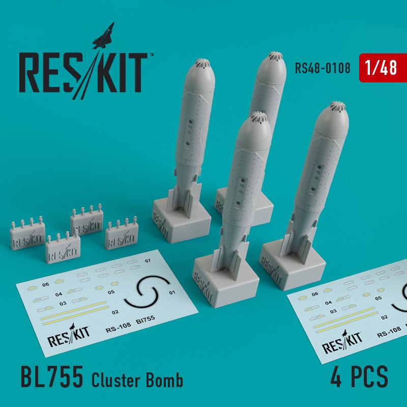 Res/Kit BL755 Cluster Bomb (4 pcs) (, Jaguar, Harrier, Phantom, MiG-27)