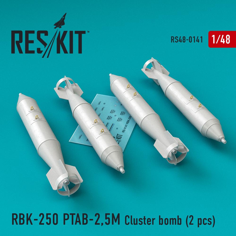 Res/Kit RBK-250 PTAB-2,5M Cluster bomb (4 pcs) (Su-7, Su-17, Su-22, Su-24, Su-25, Su-34, MiG-21, MiG-27)