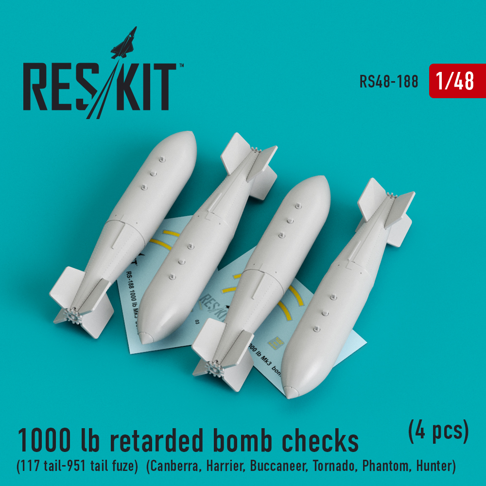 Res/Kit 1000 lb retarded bomb checks (117 tail-951 tail fuze) (Canberra, Harrier, Buccaneer, Tornado, Phantom, Hunter) (4 pcs)