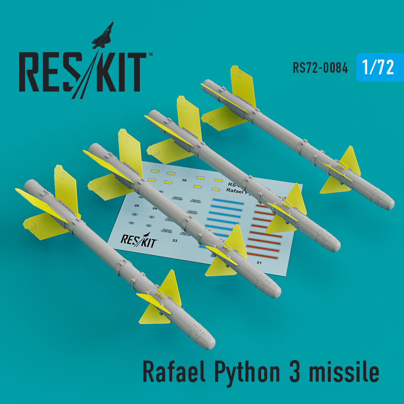 Res/Kit Rafael Python 3 missile (4 pcs) (IAI Kfir, F-15C/I, F-16I, JF-17, MiG-21, Mirage F.1)