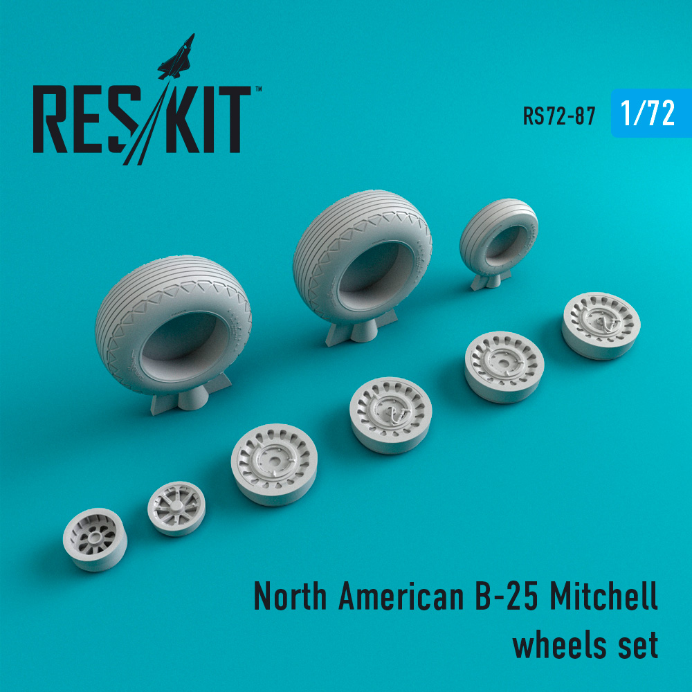 Res/Kit North American B-25 Mitchell wheels set