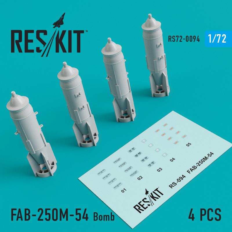 Res/Kit FAB-250_-54 Bomb (4 pcs) (MiG-21/23/27/29, Su-7/17/20/22/24/25/27/30/34, YAK-130)