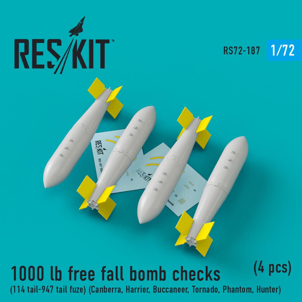 Res/Kit 1000 lb free fall bomb checks (114 tail-947 tail fuze) (Canberra, Harrier, Buccaneer, Tornado, Phantom, Hunter) (4 pcs)