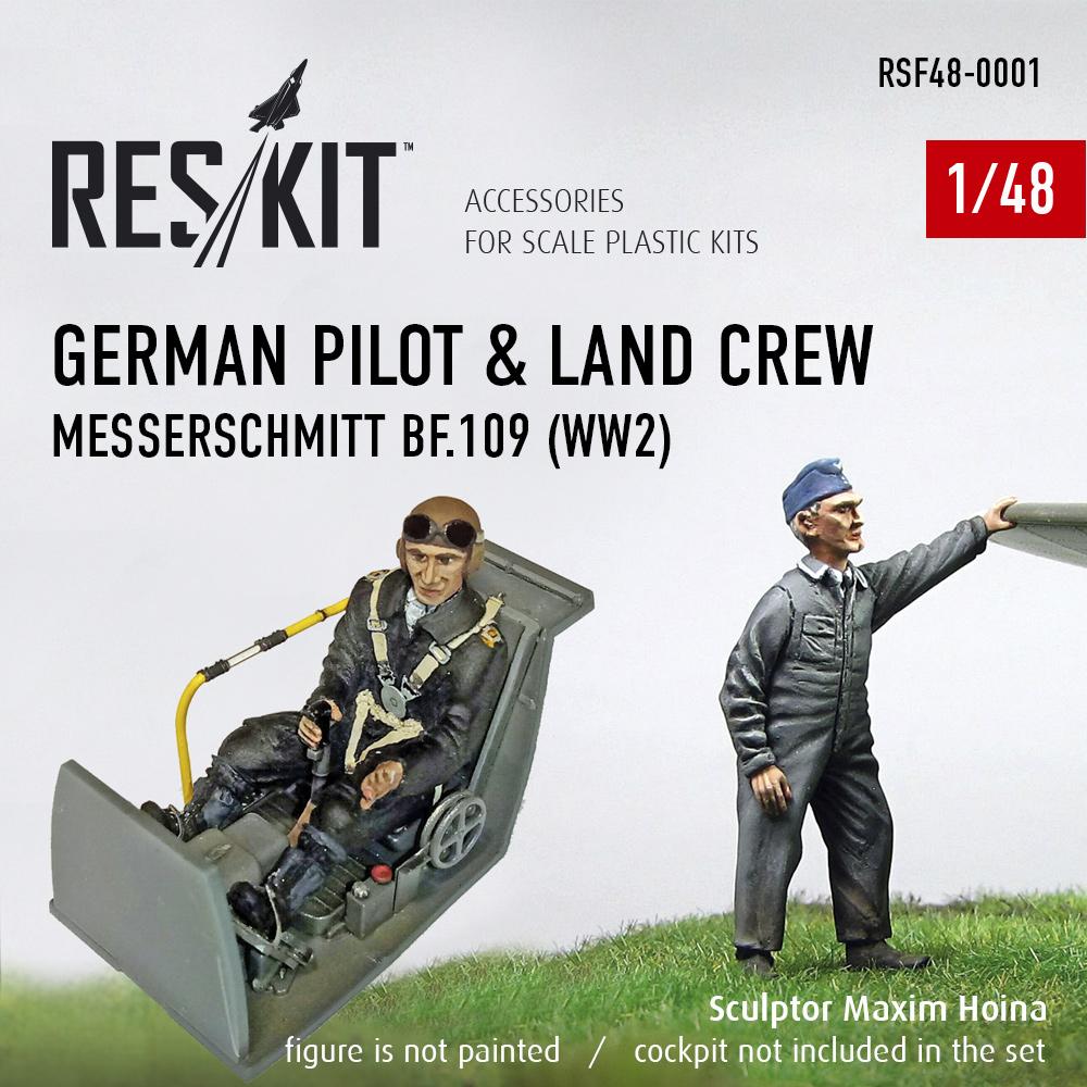 Res/Kit German pilot & land crew Messerschmitt Bf.109 (WW2) 1/48