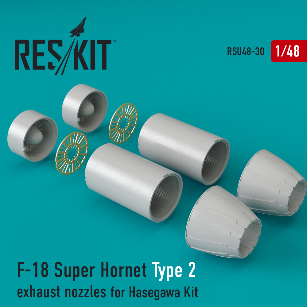 Res/Kit F-18 Super Hornet Type 2 exhaust nozzles for Hasegawa Kit