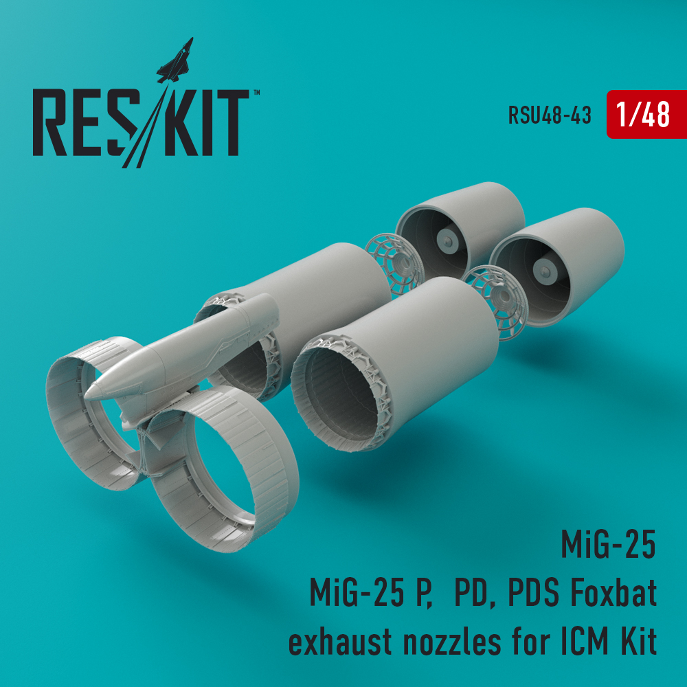 Res/Kit MiG-25 P, PD, PDS Foxbat exhaust nozzles for ICM Kit