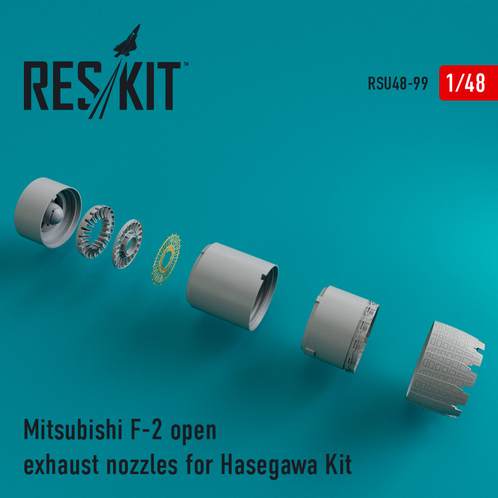 Res/Kit Mitsubishi F-2 open exhaust nozzles for Hasegawa Kit