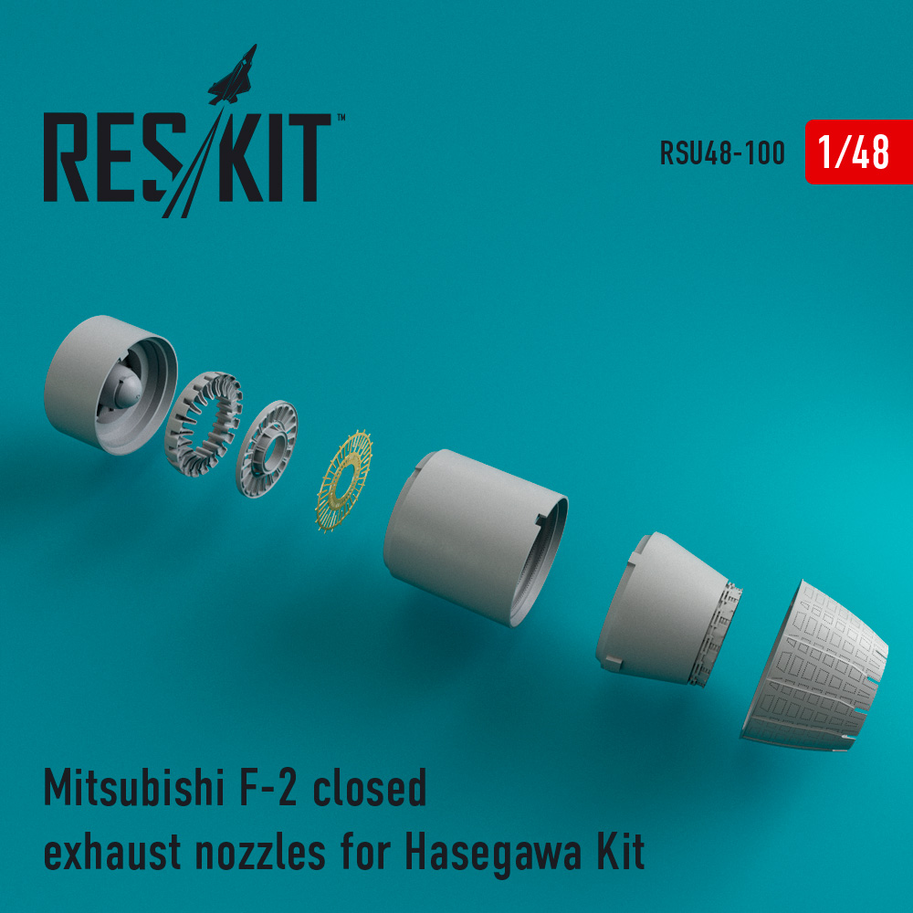 Res/Kit Mitsubishi F-2 closed exhaust nozzles for Hasegawa Kit
