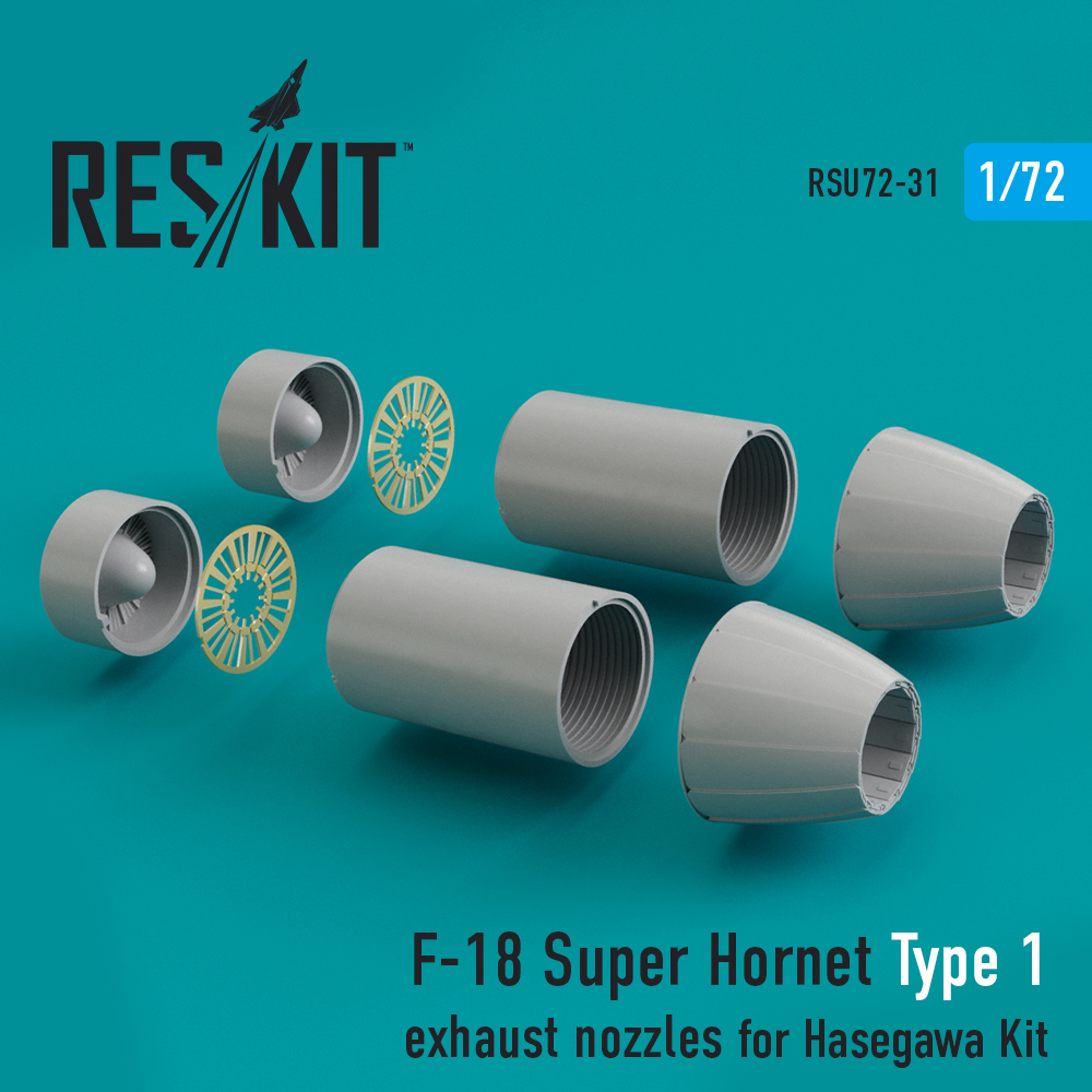 Res/Kit F-18 Super Hornet Type 1 exhaust nozzles for Hasegawa Kit