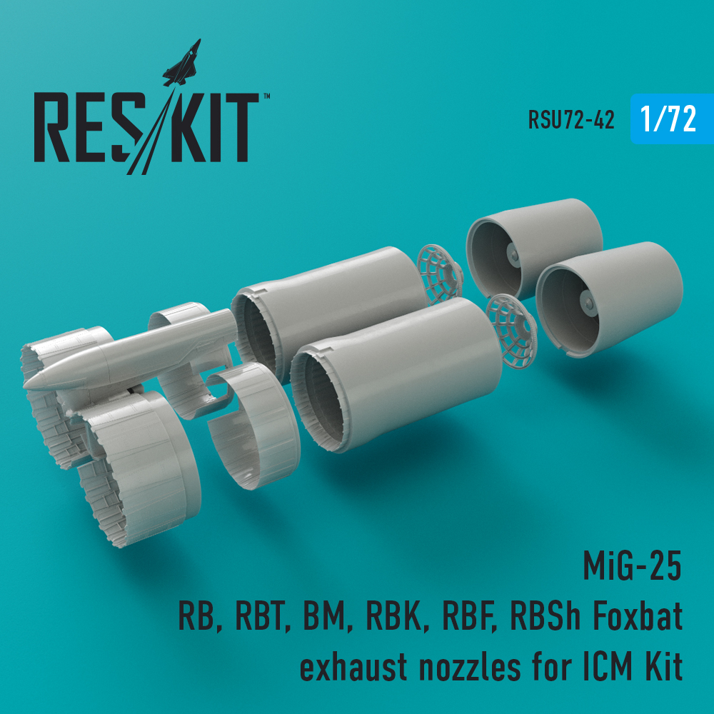 Res/Kit MiG-25 RB, RBT, BM, RBK, RBF, RBSh Foxbat exhaust nozzles for ICM Kit