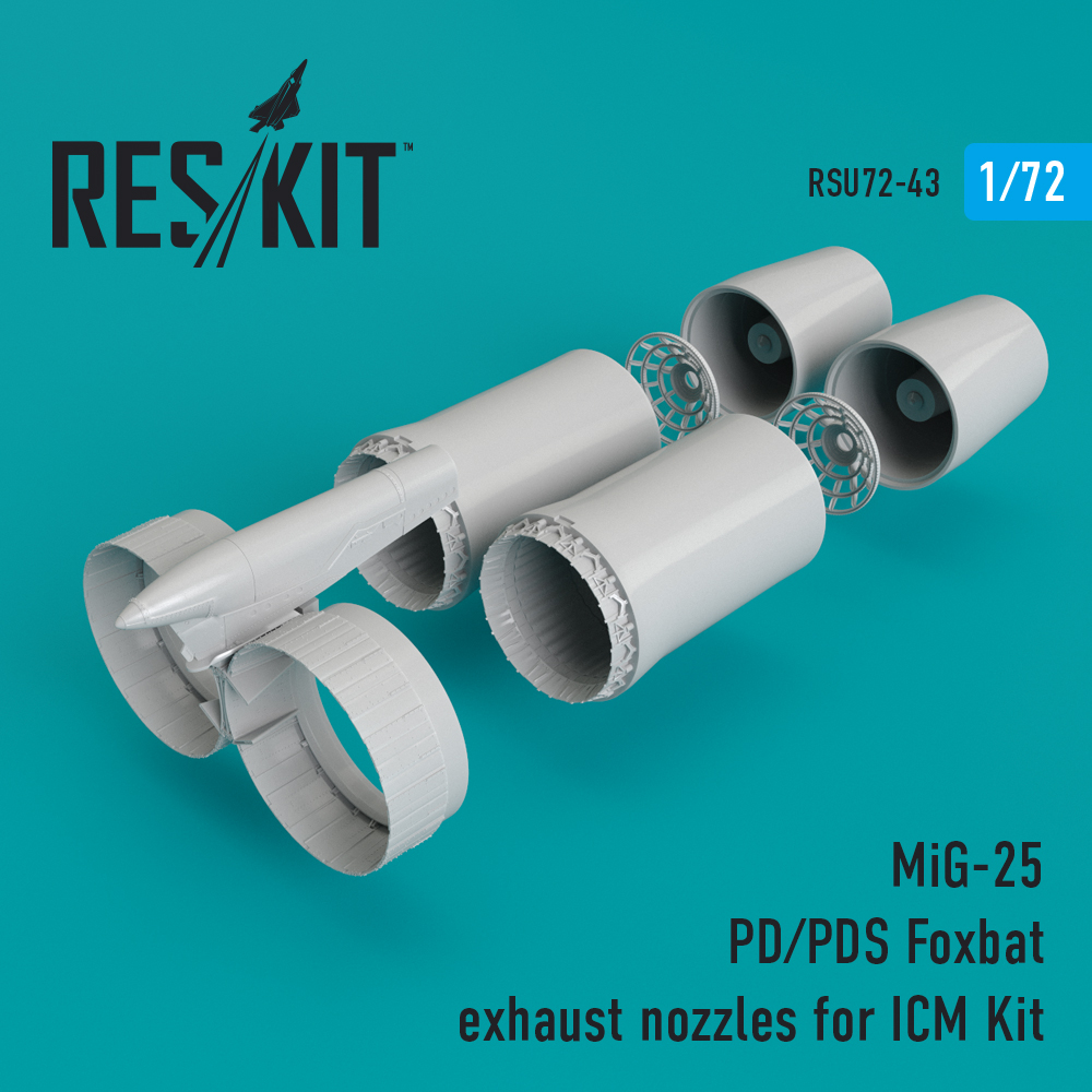 Res/Kit MiG-25 PD/PDS Foxbat exhaust nozzles for ICM Kit