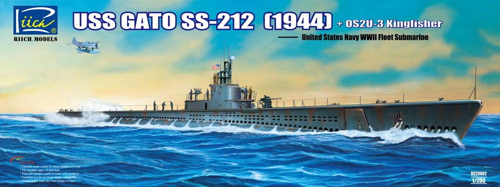 Riich 1/200 USS Gato SS-212 Fleet Submarine (1944) + OS2U-3 Kingfisher Floatplane