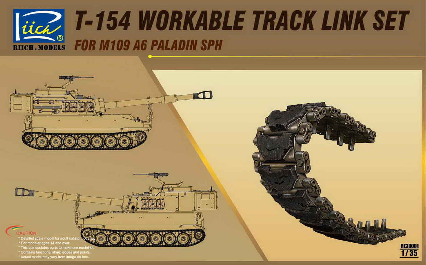 Riich 1/35 T-154 Workable Track set for M109A6 SPH