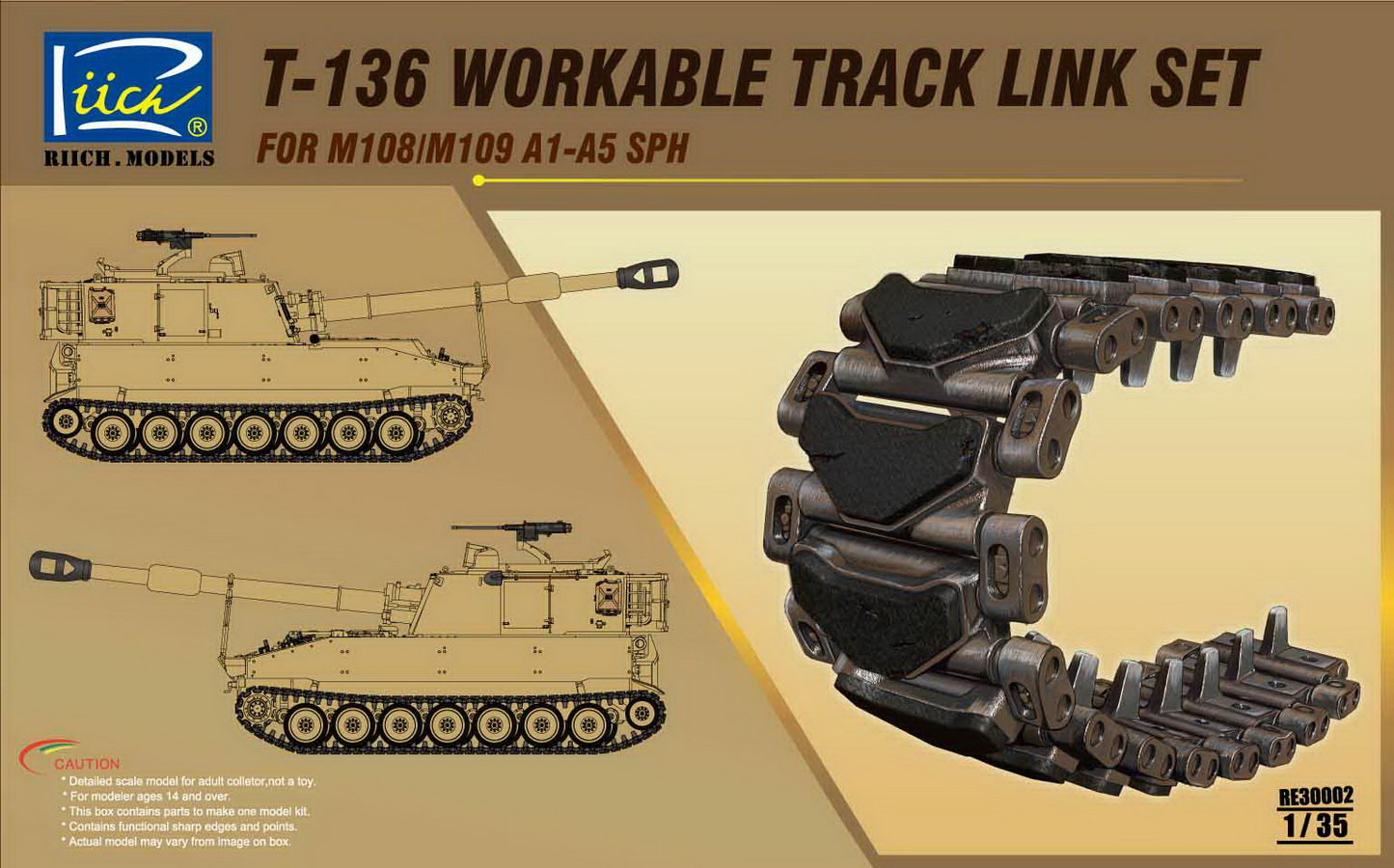 Riich 1/35 T-136 Workable Track set for M108/M109A1-A5 SPH