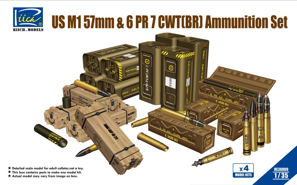 Riich 1/35 US M1 57mm & 6PR 7cwt (BR) Ammunition Set(Model kits x4)