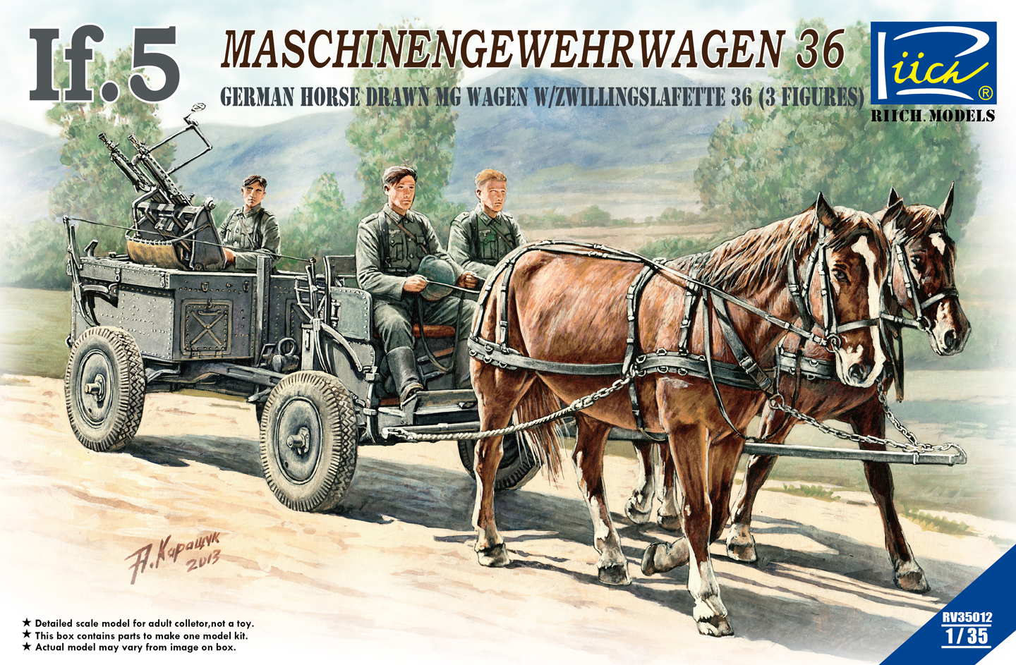 Riich 1/35 WWII German IF-5 Horse Drawn MG Wagon with Zwillingslafette 36 (two horese & three figures)