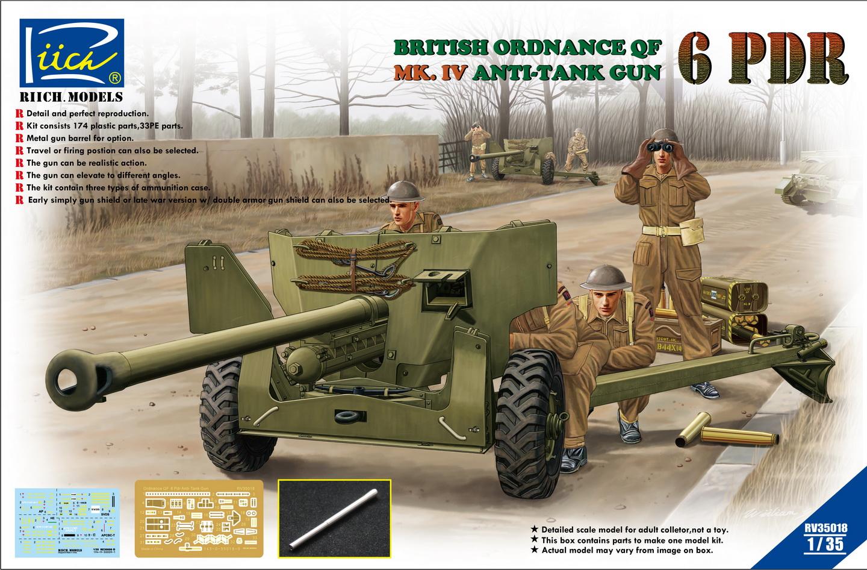 Riich 1/35 Ordnance QF 6-Pdr. Mk.IV Late War Infantry Anti-tank Gun (w/Metal gun barrel)