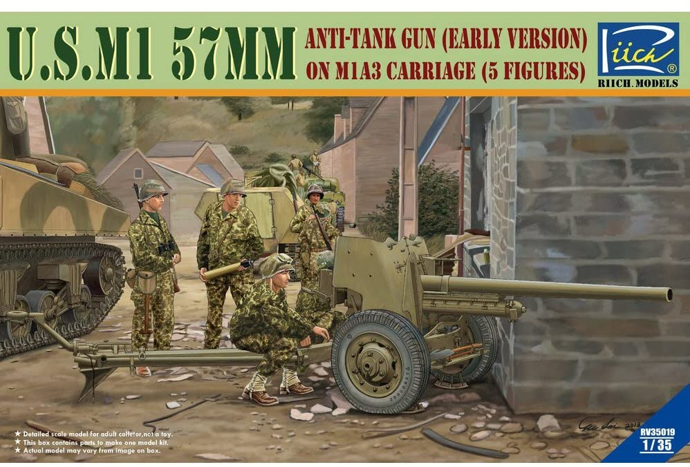 Riich 1/35 U.S. M1 57mm anti-tank Gun early version on M1A3 Carriage w/Crews (5 Figures)