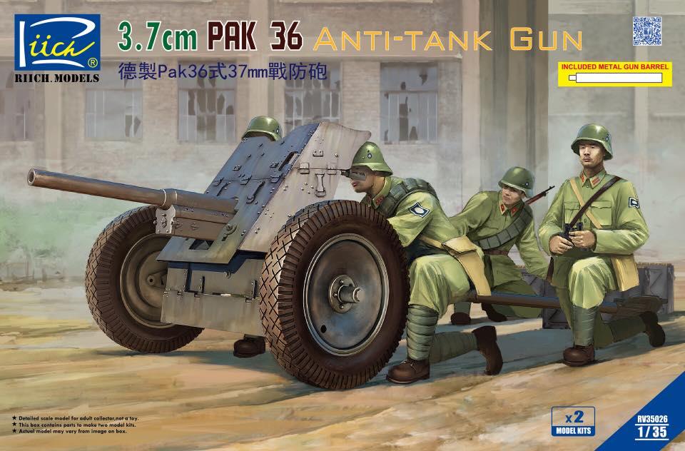 Riich 1/35 German 3.7 cm Pak 36 Anti-Tank Gun (model kits x2)w/Metal gun barrel