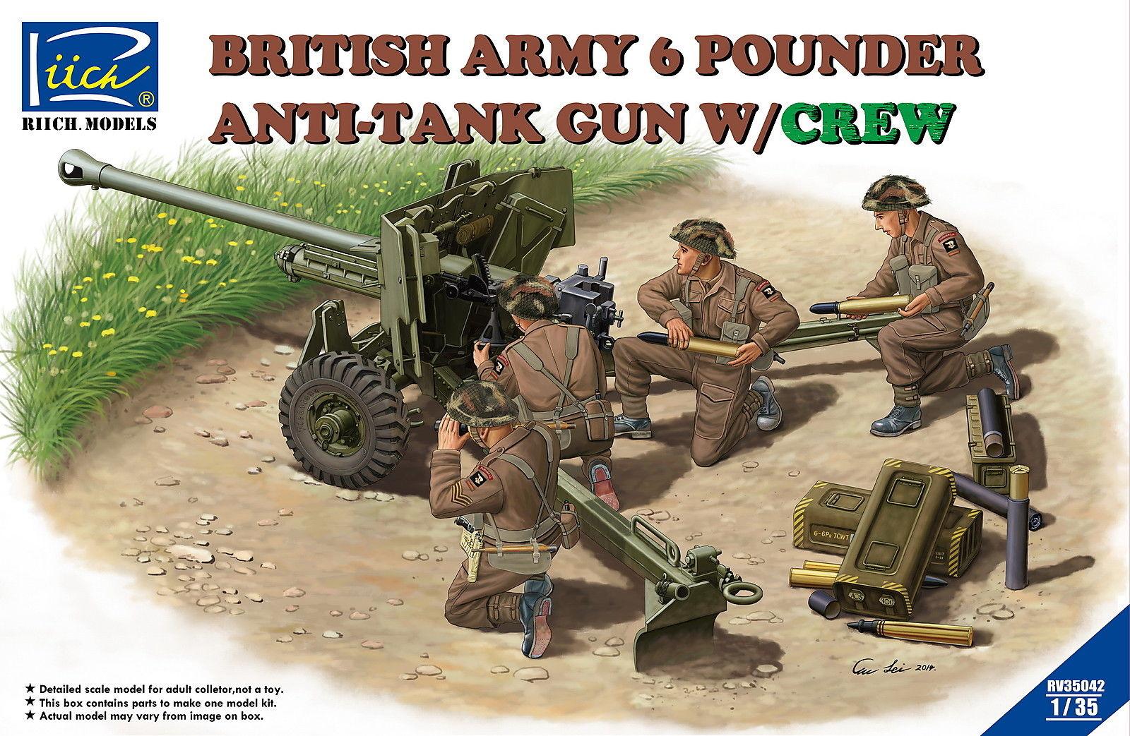 Riich 1/35 British Army 6 Pounder Infantry Anti-tank Gun w/Crews (4 Figures)