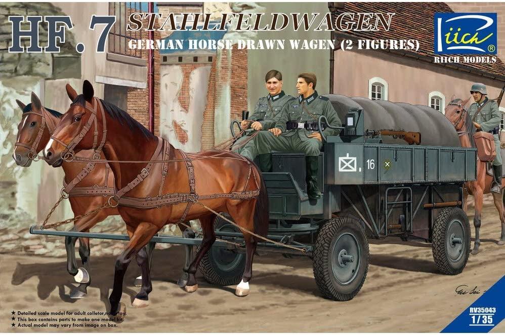 Riich 1/35 German Hf.7 Horse drawn Steel field wagen w/2 Horses & 2 Figures