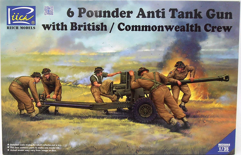 Riich 1/35 6 Pounder Infantry Anti-tank Gun w/British Commonwealth Crews (5 Figures)