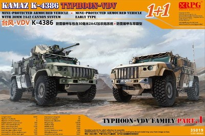 RPG 1/35 Russian Typhoon VDV K-4386 Armoured Vehicle - 30mm 2A42 Autocannon Type & Mine-Protected Early Type (1+1 Super Value Edition)