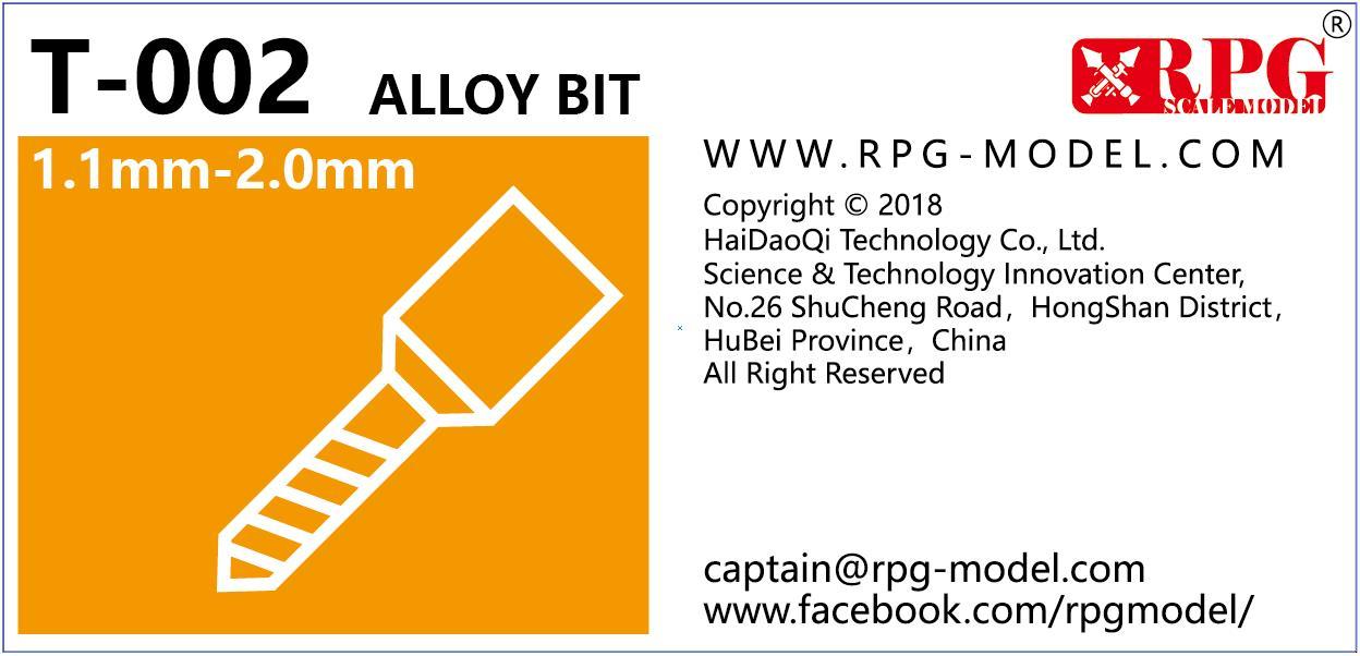 RPG Alloy bit set 1.1mm-2.0mm