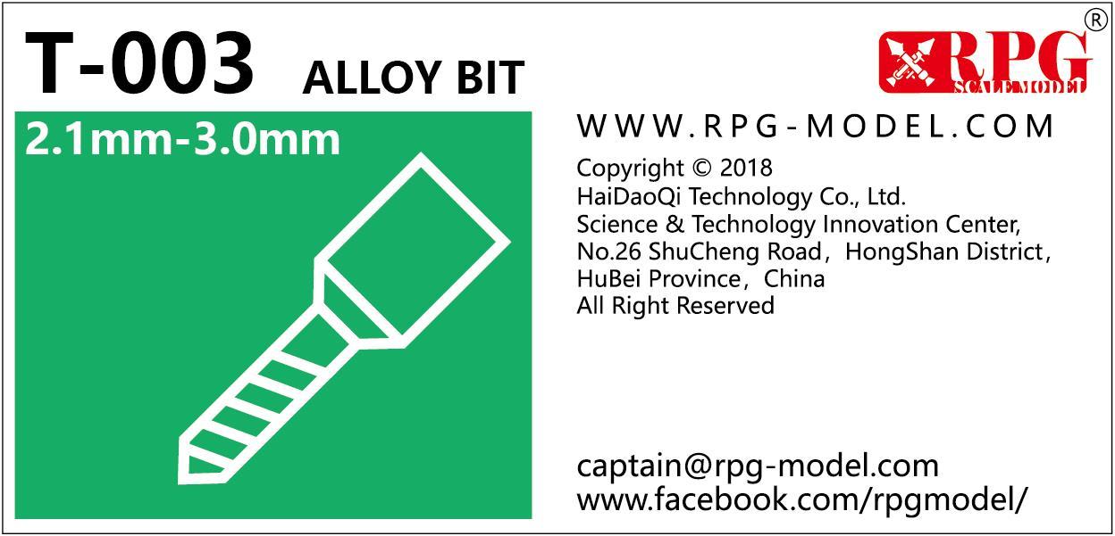 RPG Alloy bit set 2.1mm-3.0mm