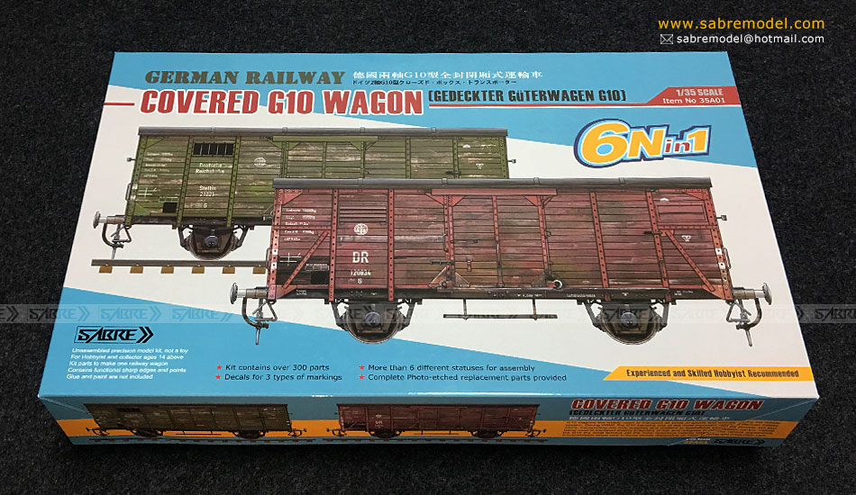 Sabre 1/35 German Railway COVERED G10 WAGON (6N in 1)