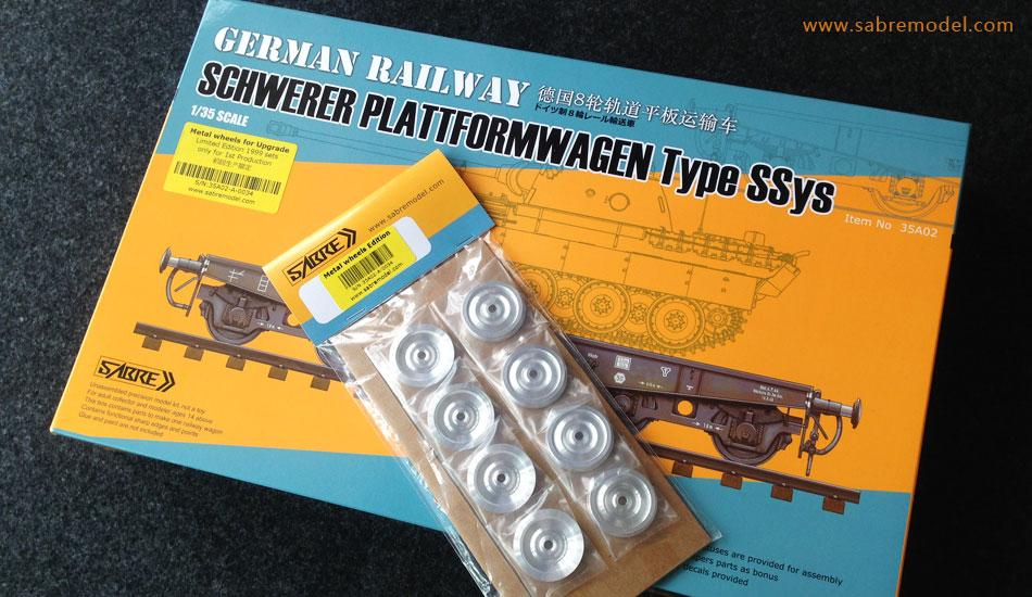 Sabre 1/35 German Railway SCHWERER PLATTFORMWAGEN Typ SSys 4[Axle] 50ton - Metal wheels Edition