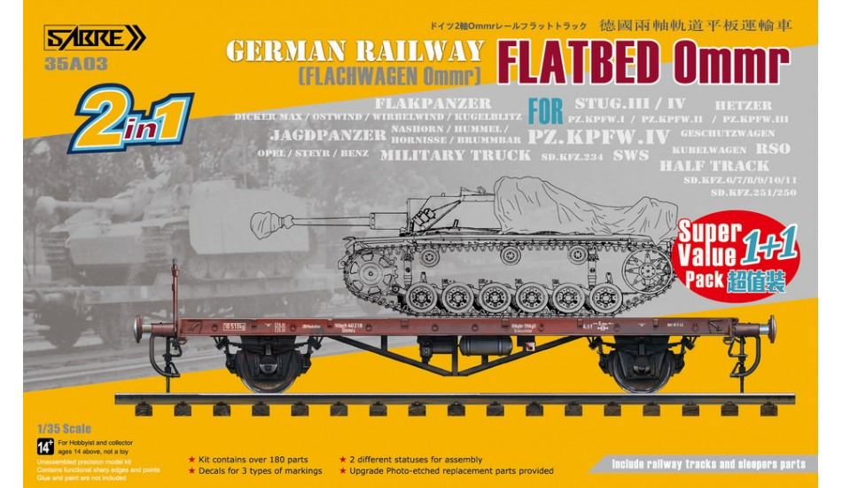 Sabre Model 1/35 German Railway FLATBED Ommr (2 in 1) - Super Value Pack