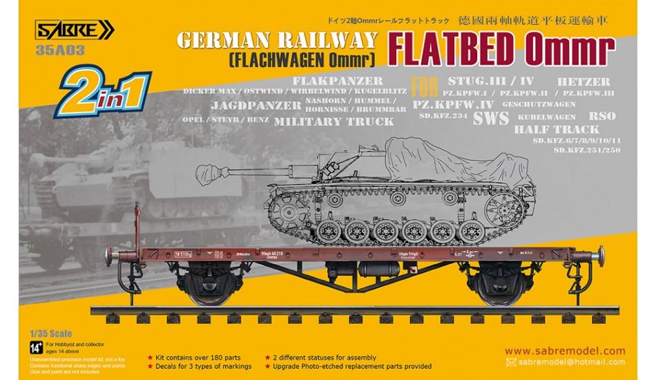 Sabre Model 1/35 German Railway FLATBED Ommr (2 in 1)