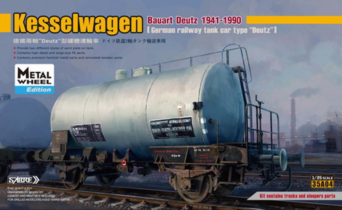Sabre 1/35 German Railway Kesselwagen Bauart Deutz 1941-1990, Metal Wheels Edition