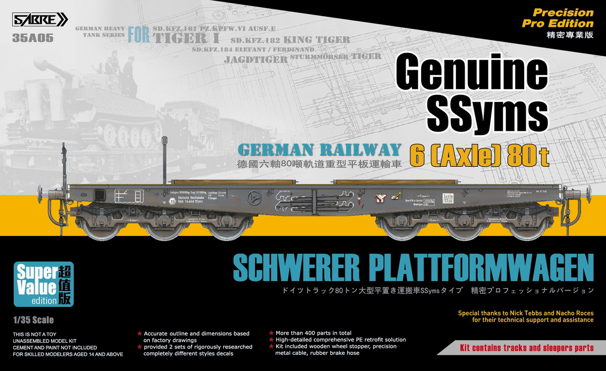 Sabre 1/35 Genuine SSyms - German Railway SCHWERER PLATTFORMWAGEN 6-Axle 80ton (Precision Pro Edition) - Super Value Edition