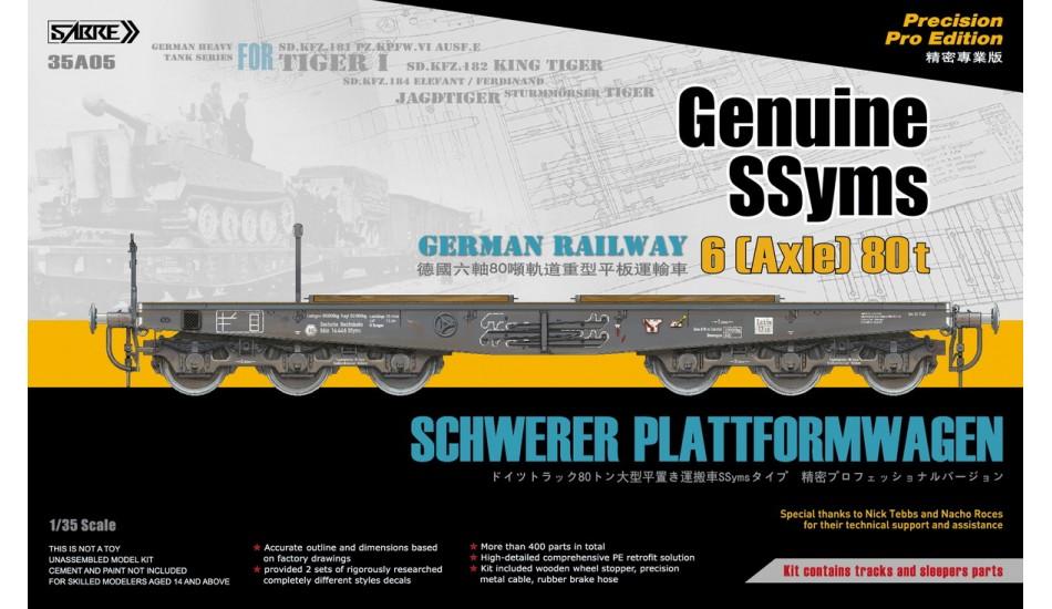 Sabre 1/35 Genuine SSyms - German Railway SCHWERER PLATTFORMWAGEN   6-Axle 80ton (Precision Pro Edition)