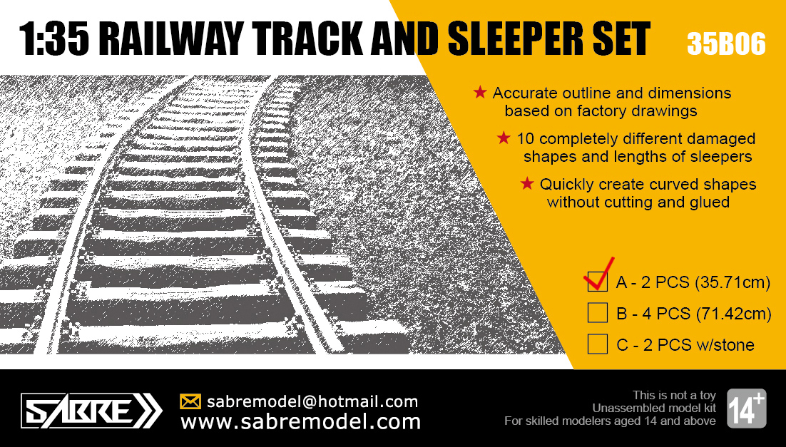 Sabre 1/35 RAILWAY TRACK AND SLEEPER SET (2 PCS - Length 35.71 cm)