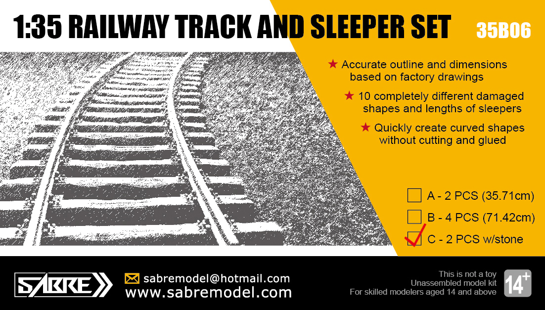 Sabre 1/35 RAILWAY TRACK AND SLEEPER SET (2 PCS w/300g Real stones )