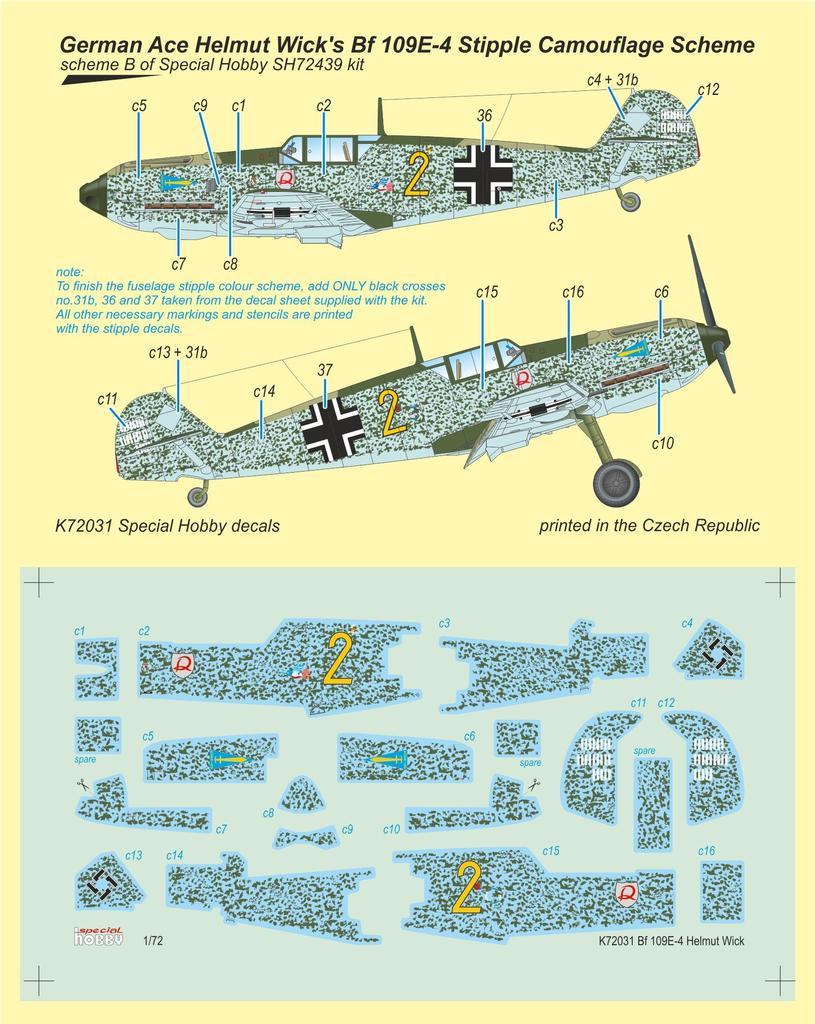 Special Hobby 1/72 Bf 109E-4 German Ace H. Wick Decal Motley Camo