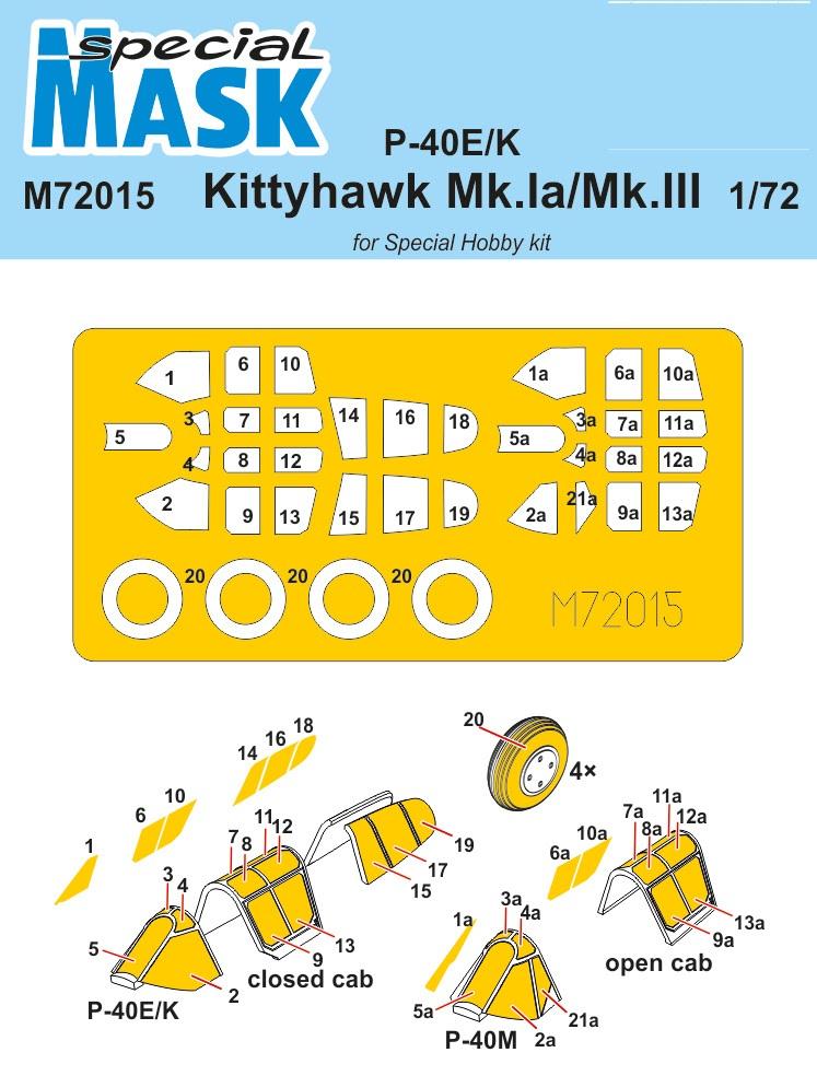 Special Hobby 1/72 P-40E/K/Kittyhawk Mk.Ia/Mk.III Mask