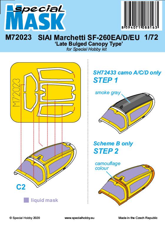 Special Hobby 1/72 SIAI-Marchetti SF-260EA/D/EU Late Bulged Canopy Type Mask