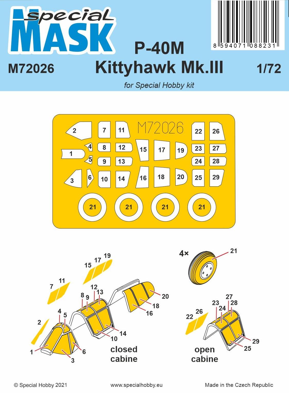 Special Hobby 1/72 P-40M Warhawk/Kittyhawk Mk.III Mask