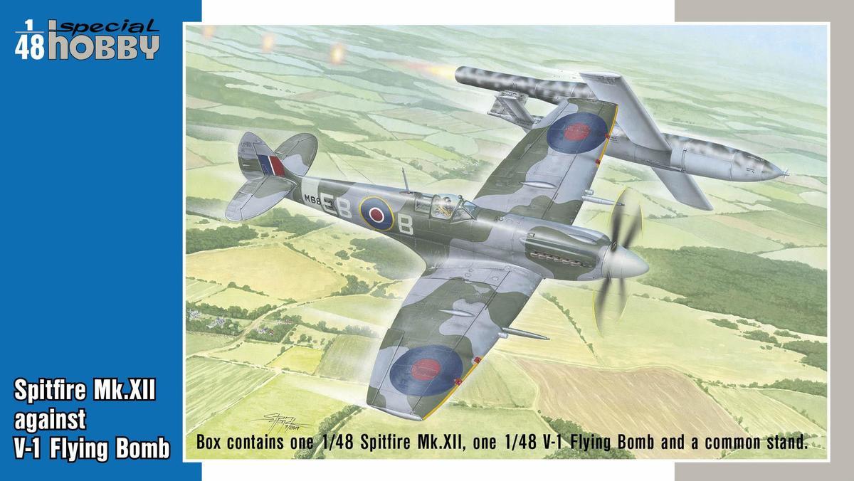 Special Hobby 1/48 Spitfire Mk.Xll against V-1 Flying Bomb