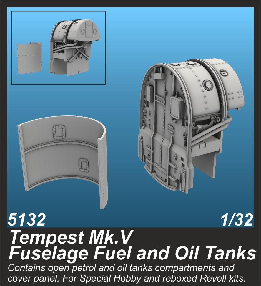 Special Hobby 1/32 Tempest Mk.V Fuselage Fuel and Oil Tanks