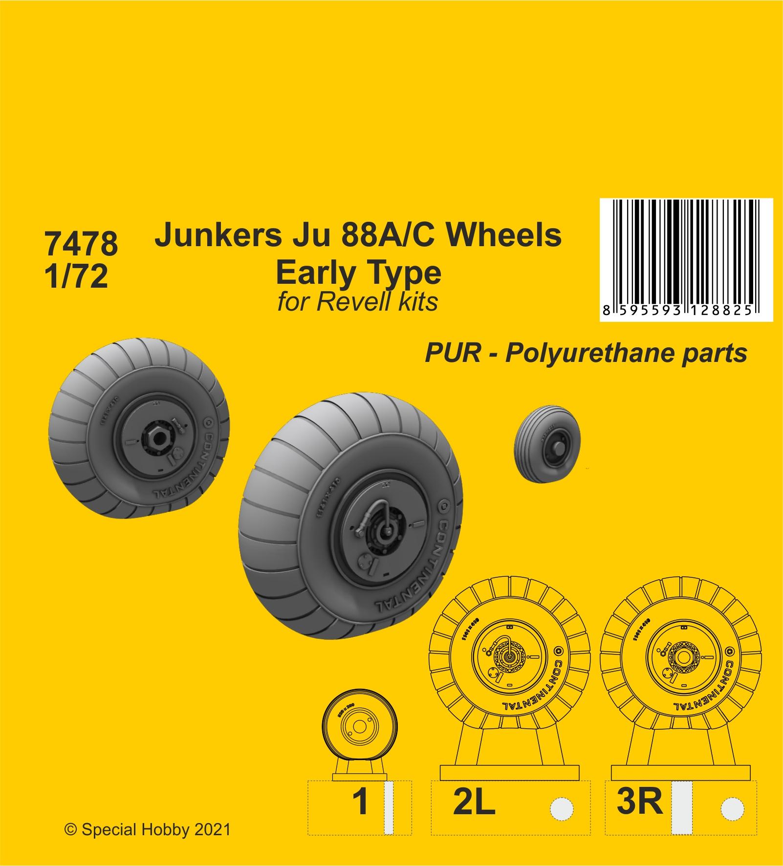 CMK 1/72 Junkers Ju 88A/C Wheels Early Type (Revell kits)