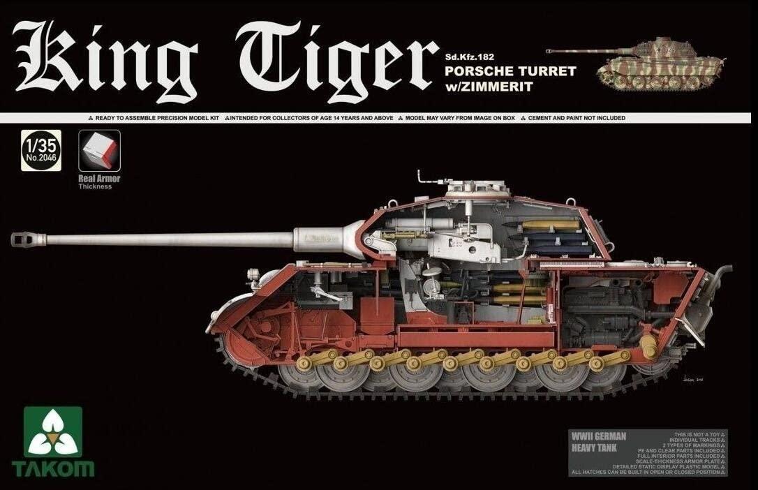 Takom 1/35 WWII German Heavy Tank Sd.Kfz.182 King Tiger Porsche Turret w/Zimmerit and interior