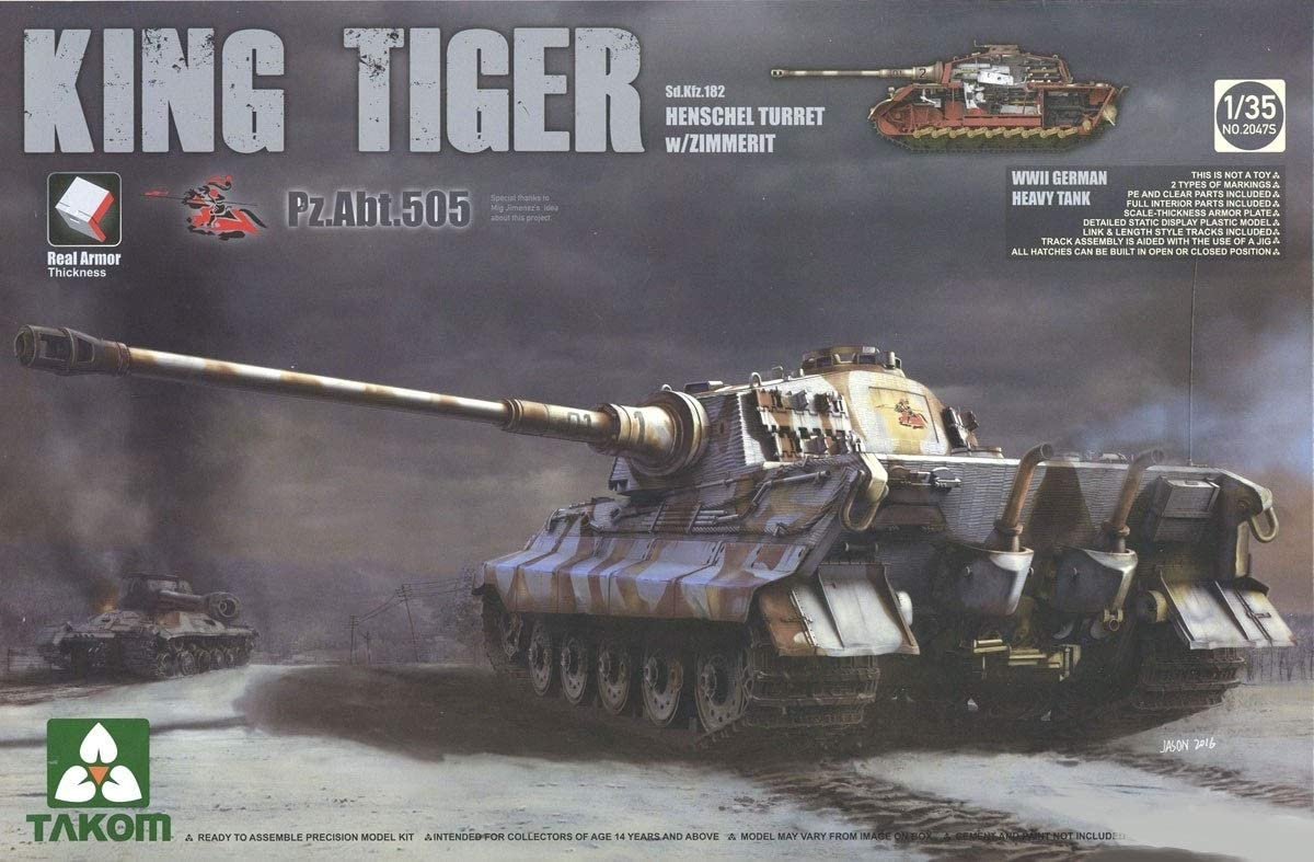 Takom 1/35 WWII German Heavy Tank Sd.Kfz.182 King Tiger Henschel Turret w/Zimmerit and interior [Pz.Abt.505 special edition]
