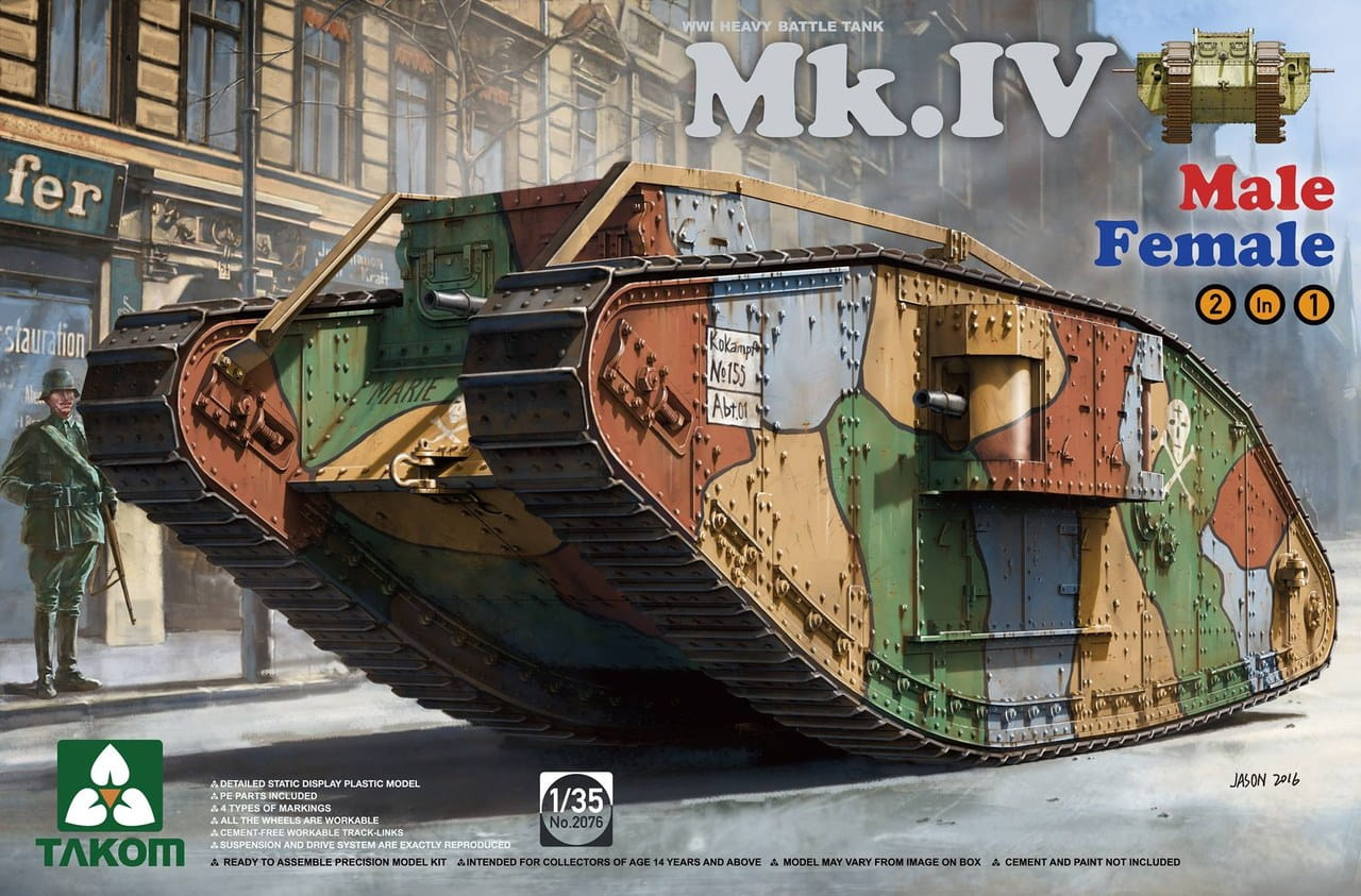 Takom 1/35 WW I Heavy Battle Tank Mk.IV 2in1(Special edition with new decal and cement-free workable tracks)