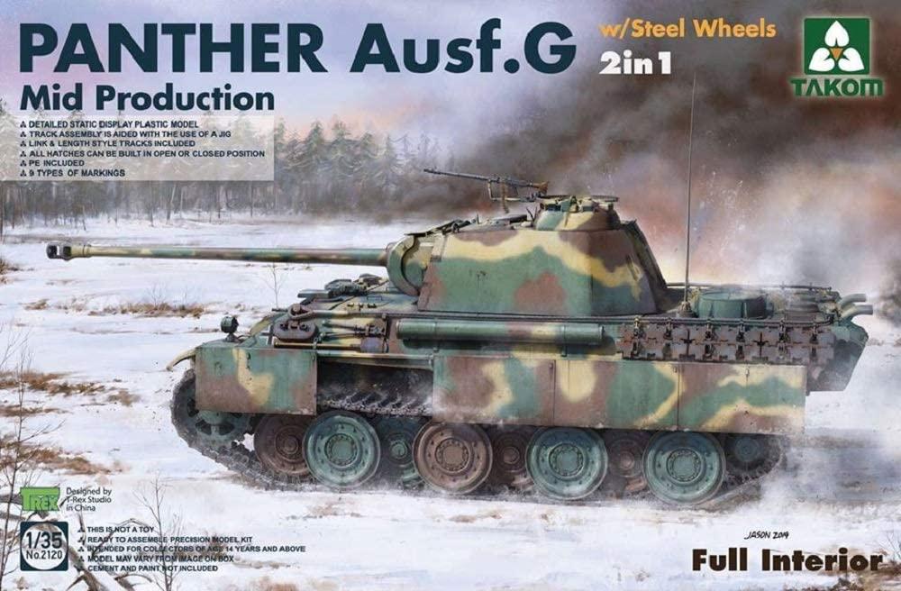 Takom 1/35 WWII German medium Tank Panther Ausf.G Mid production w/ Steel Wheels 2in1